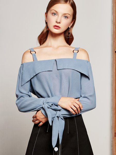 Chiffon Long Sleeve Bow Cold Shoulder Top