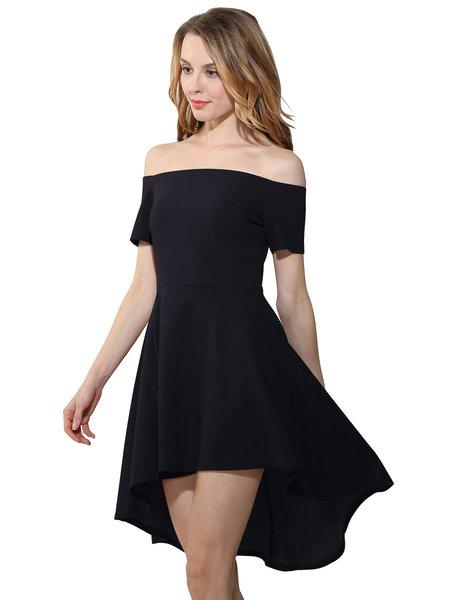 Black Off Shoulder Short Sleeve Asymmetric Dress