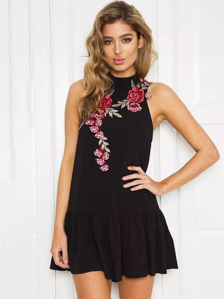 Black Appliqued Sleeveless Club Cutout A-line Dress