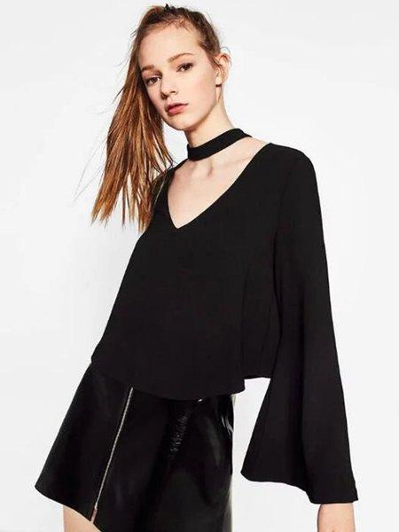 Black Bell Sleeve Solid V Neck Blouse