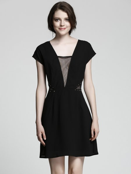 Black Cutout Short Sleeve Plunging Neck Dress