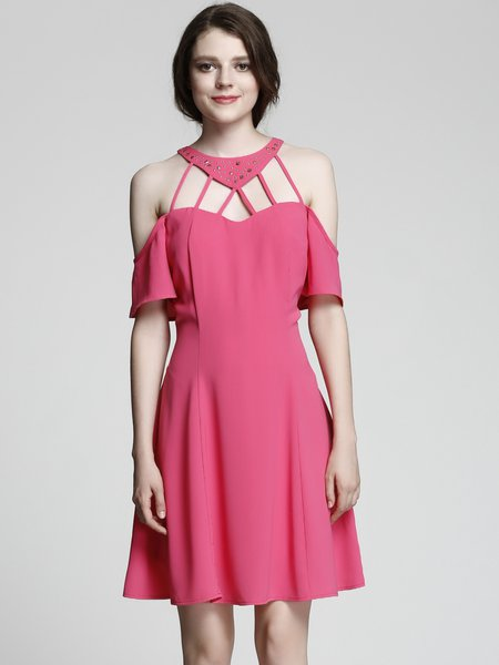 Fuchsia Cold Shoulder Crisscross Short Sleeve Rivet Dress