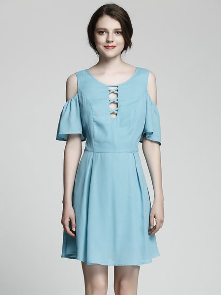 Aqua A-line Frill Sleeve Solid Cold Shoulder Dress