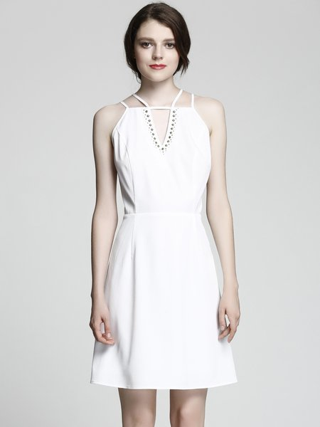 White Solid A-line Sexy Strappy Back Dress