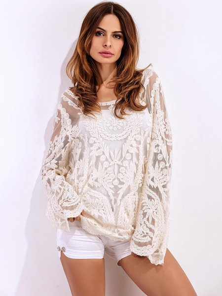 Beige Embroidered Lace Long Sleeve Boat Neck Top