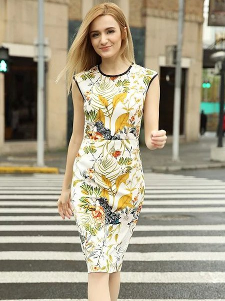 Vintage Short Sleeve Printed Sheath Crew Neck Dress