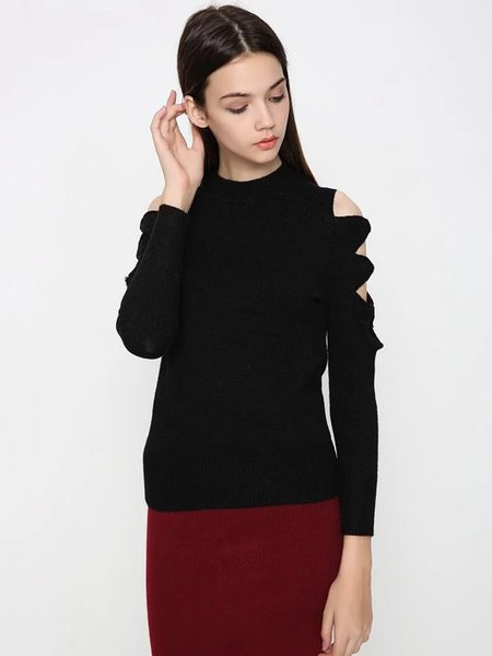 Black Casual Solid Knitted Cold Shoulder Sweater
