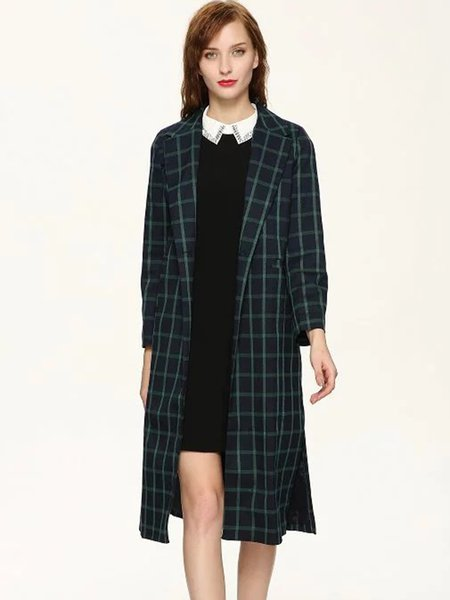 Slit Side Plaid Vintage Lapel H-line Coat
