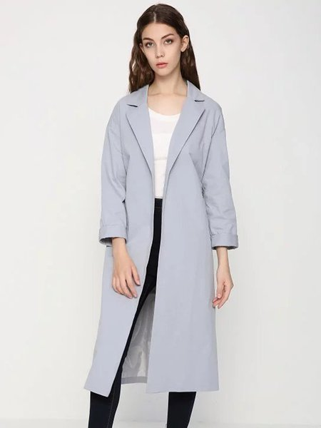 Light Gray Lapel Simple H-line Solid Coat with Belt