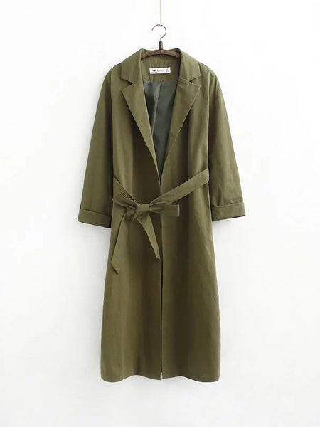 Solid Simple Long Sleeve Lapel Coat with Belt