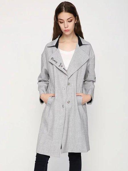 Light Gray Pockets Long Sleeve Letter Printed Coat