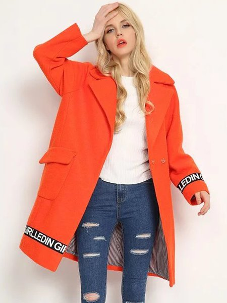 Orange Lapel Long Sleeve Letter H-line Printed Coat