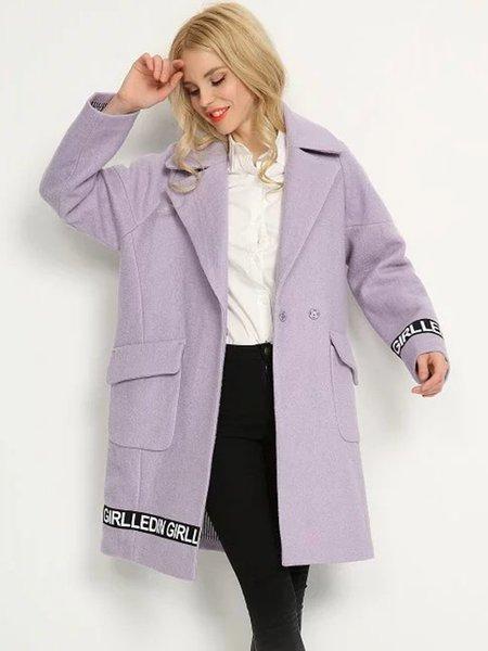 Lavender Letter Printed H-line Lapel Coat