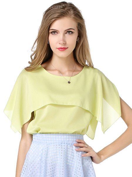 Asymmetric Crew Neck Girly Chiffon Blouse