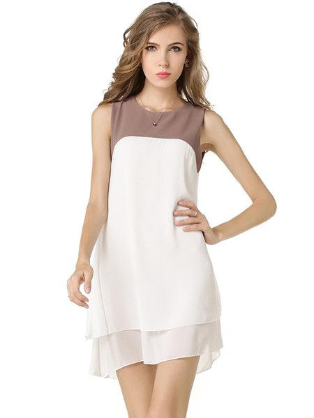 White Layered Chiffon Sleeveless Color-block Dress