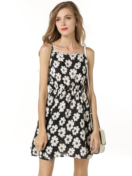 Black A-line Floral Printed Girly Chiffon Spaghetti Dress