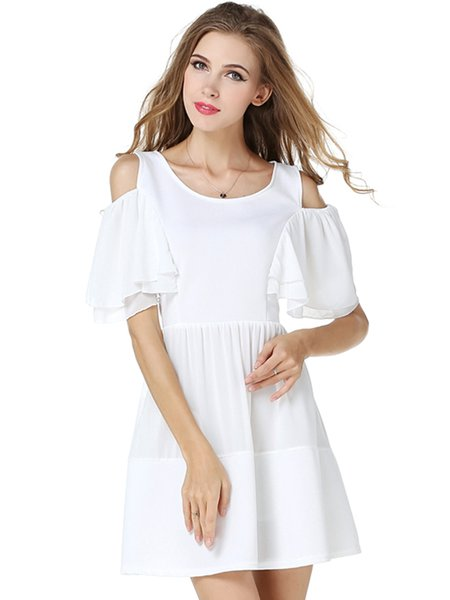 White Cold Shoulder Swing Frill Sleeve Dress