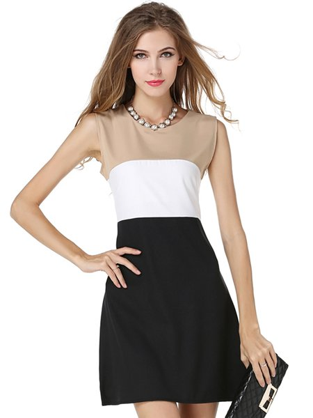 Black Elegant Crew Neck Color-block Dress