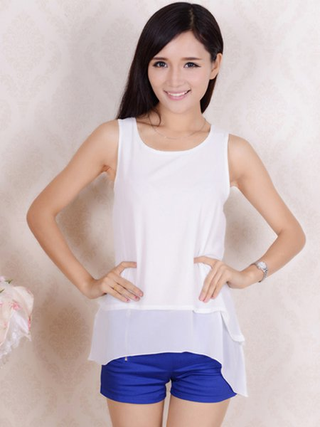 Asymmetric Double Layered Chiffon Tank Top
