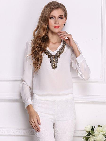 White V Neck Metal Embellished Long Sleeve Blouse