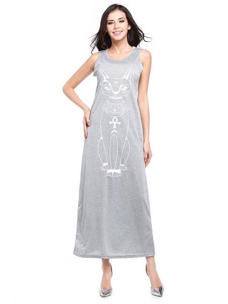 Gray Animal Printed Sleeveless Pockets Maxi Dress