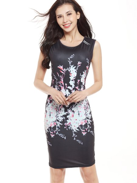 Black Sleeveless Floral-print Casual Dress