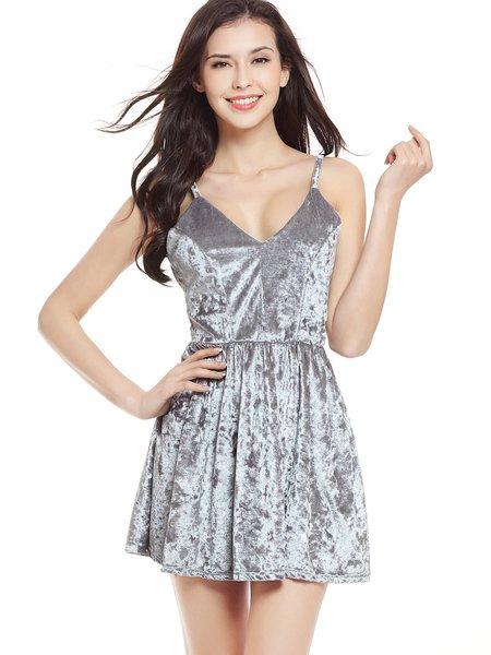 Silver Velvet A-line Spaghetti Folds Strappy Back Dress
