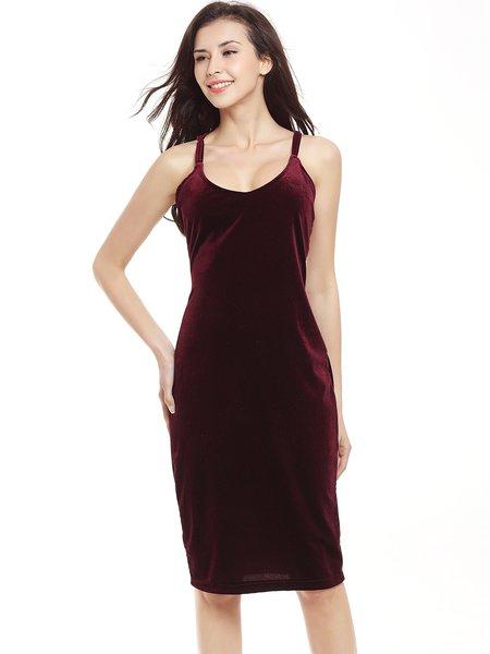Strappy Back Sheath Velvet Sexy Scoop Neckline Dress