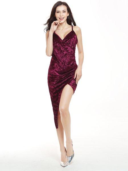Asymmetric Solid Sexy Velvet Spaghetti Dress