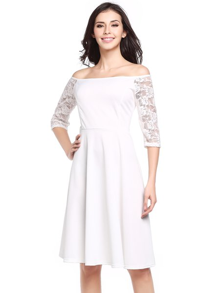 White Off Shoulder Paneled Elegant Solid Swing Dress