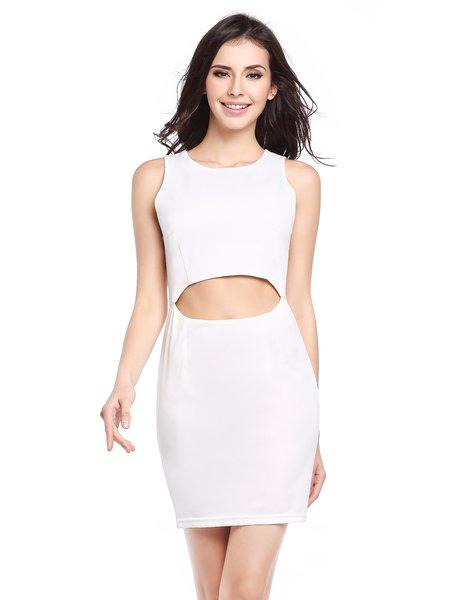 White Sheath Solid Sexy Cutout Sleeveless Dress
