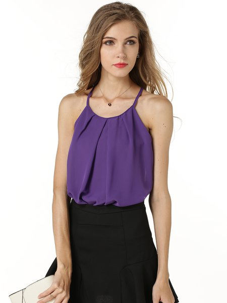Halter Girly Folds Sleeveless Chiffon Cami Top