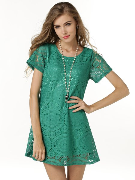 Crocheted Short Sleeve Cute Lace A-line Dress