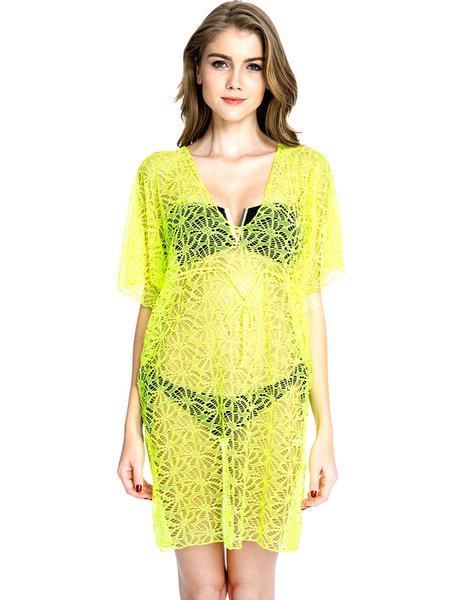 Yellow Pierced V Neck Solid Lace Cover Up