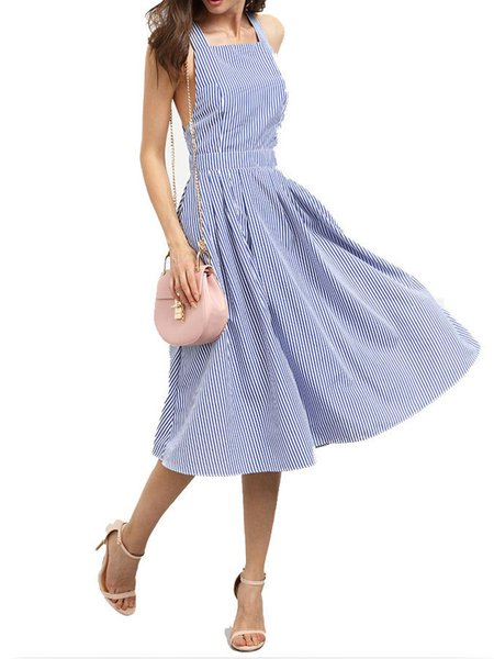 Blue Crisscross Back Stripes Spaghetti Swing Dress