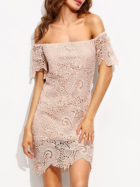 Pink Crocheted Off Shoulder Sexy Floral Lace Dress