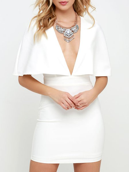 White Sexy Sheath Solid Plunging Neck Dress