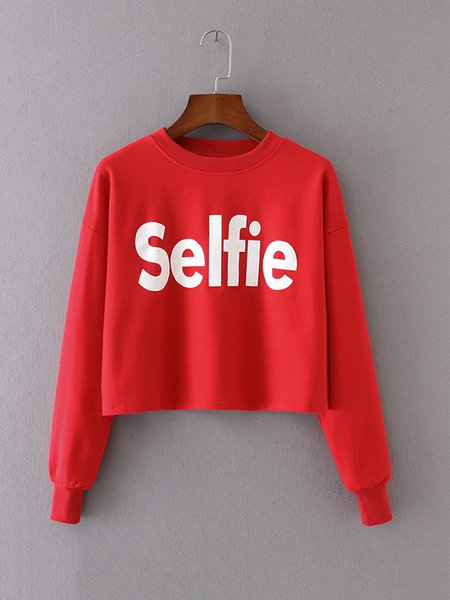 Red Letter Long Sleeve H-line Crop Top