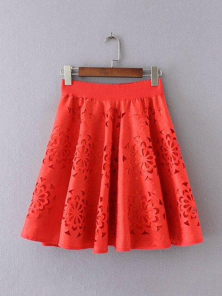 Folds Pierced Floral A-line Skirt