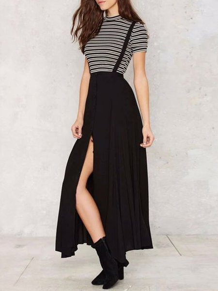 Black Buttoned Spaghetti Swing Overall Maxi Skirt