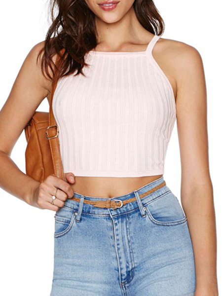 Spaghetti Solid Girly Knitted Crop Top