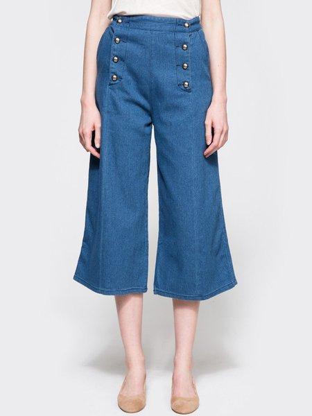 Blue Buttoned Vintage Denim Flared Pants