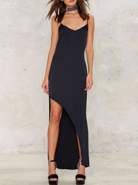 Navy Blue Slit Spaghetti Asymmetrical Dress