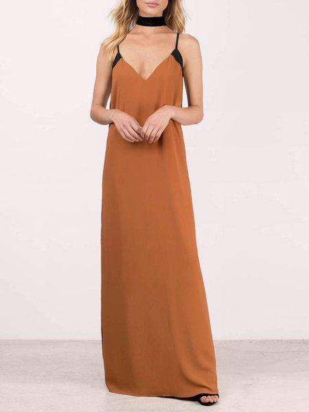 Camel Sexy Solid Color-block Spaghetti Dress