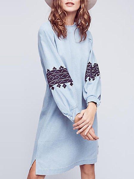 Light Blue Tribal Long Sleeve Boho Dress