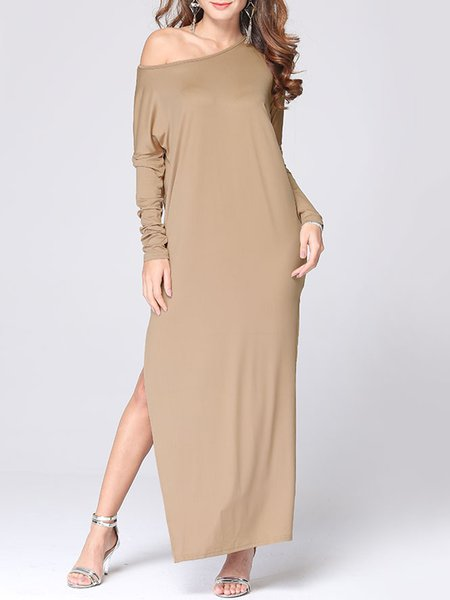 Bateau Neck Slit Solid Long Sleeve Sexy Dress