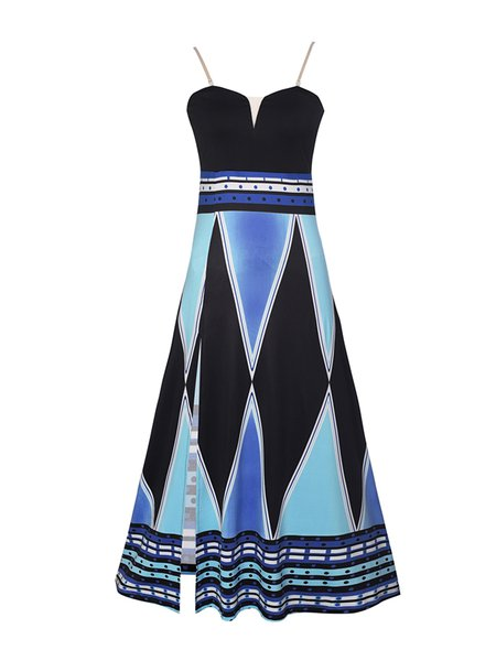 Blue Slit Strapless Sexy Geometric Printed Dress