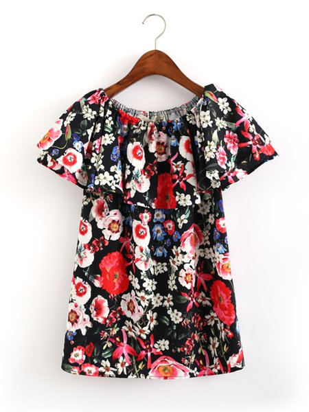 Black Girly Floral-print Off Shoulder Top