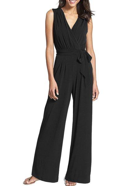 Black Surplice Neck Sleeveless Wide Leg Jumpsuit with Belt