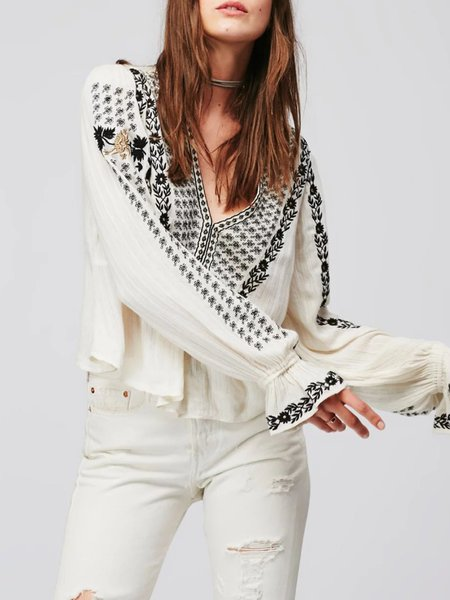 White Embroidered V Neck Boho Blouse